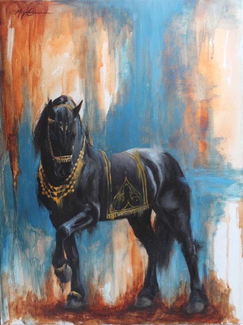 friesian theather horse
