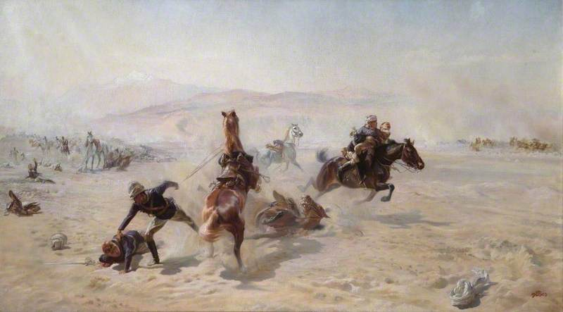 Butler, Elizabeth Southerden Thompson, 1846-1933; Rescuing the Wounded under Fire