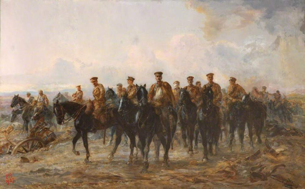 Butler, Elizabeth Southerden Thompson, 1846-1933; The Royal Horse Guards Retreat from Mons, 1914