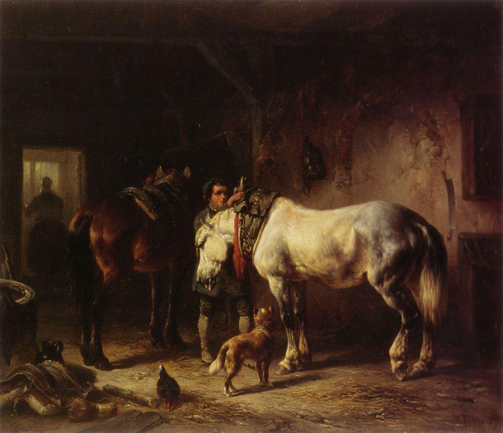Wouterus_Verschuur_-_Het_zadelen_van_de_paarden